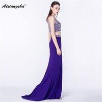 Purple Sleeveless Halter Floor Length Crop Top Stain New arrival Mermaid Long Elegant Evening Dresses Sequined vestido de festa