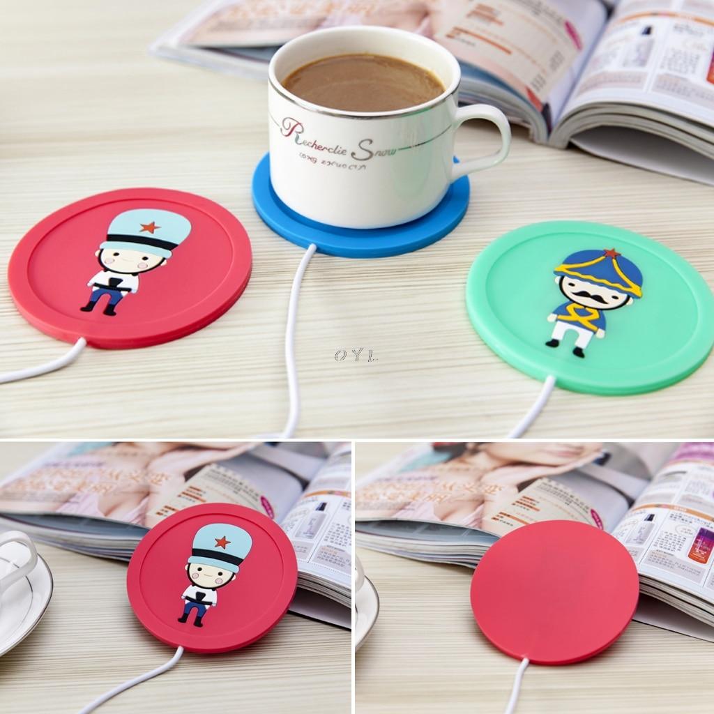 Подогреватель чашки коврики пластины кружка Pad чай молоко горячие напитки нагреватель 5 в USB мультфильм силиконовые