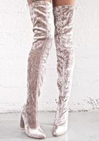Zapatos mujer облегающие Женские зимние ботинки замша нубук Большие размеры выше колена носок сапоги высокий каблук, Дамская обувь