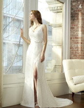 free shipping 2014 new design cap sleeve custom pearls sequin V-neck cowl thin sash bow open leg sexy wedding gown bridal dress