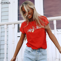 ZYFPGS 2018 Fashion Woman T Shirt Spring Summer Causal Shein T Shirt Woman Letter Knitted New