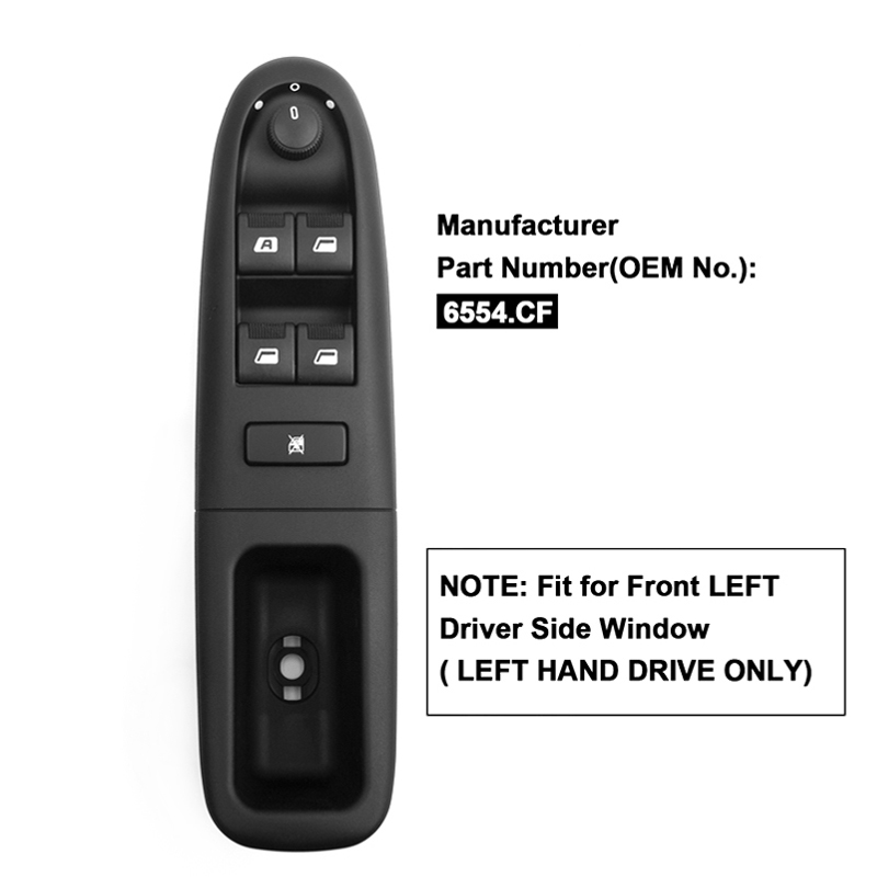 YAOPEI Front Left Electronic Power Electric Window Switch Control For <font><b>Peugeot</b></font> <font><b>406</b></font> 8B Baujahr 1995-2004 6554CF 6554.CF image