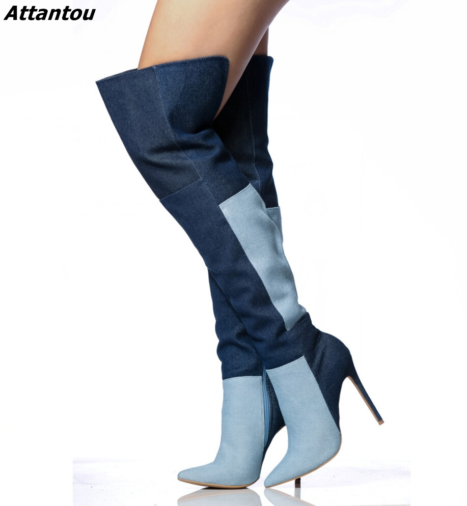 New Designer Color Matched Jeans Boots Sexy Women Denim Pointy Stiletto High Heel Over The Knee High Boots Classy Shoes Hot Sell new arrival awesome pink silk metal stiletto high heel shoes women fancy metal branch decoration thin heel pointy pumps hot sell