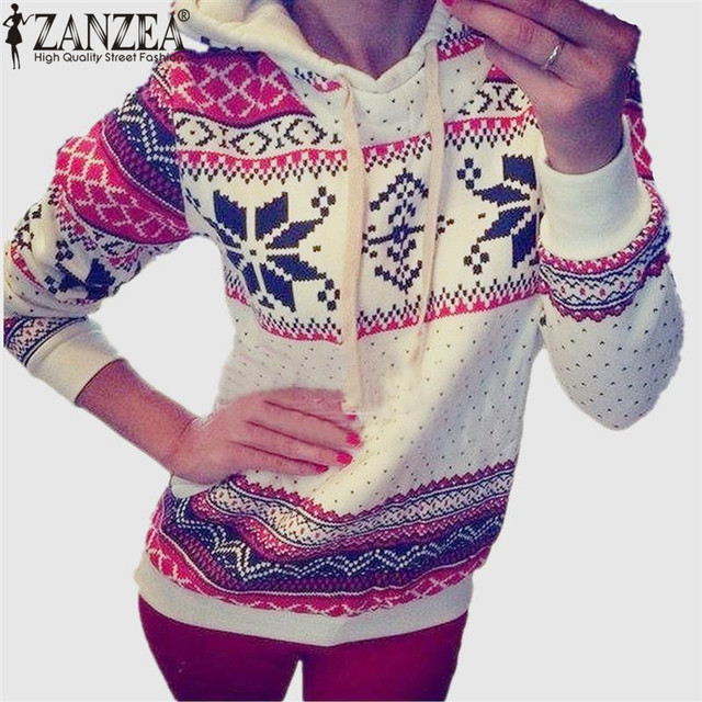 2018 Autumn Women Christmas Hoody Sweatshirts Pullovers Harajuku Snowflake Printed Coat White Hoodies moleton Feminine Hot Sale
