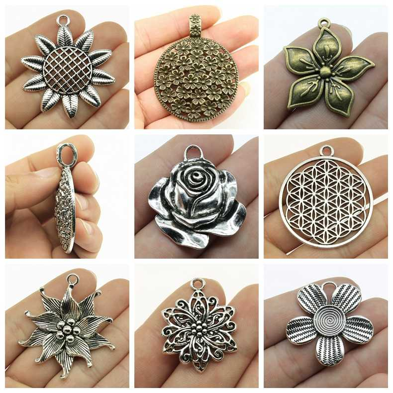Mix Flower Charm Flower Of Life Charm Pendant For Jewelry Making Diy Craft Supplie Women Jewelry