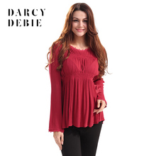 Darcydebie In the spring of the new round collar lace long sleeve fold loose women's clothing