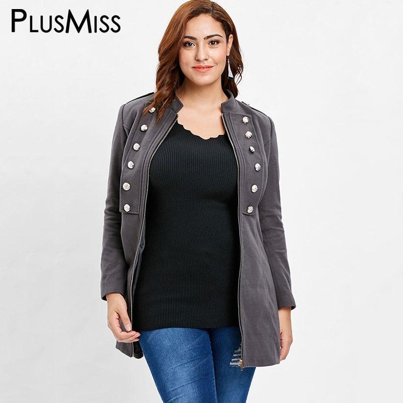 PlusMiss Plus Size 5XL Casual Button Zipper Jacket Coats Women Autumn Winter 2018 Big Size Outerwear Coat Female XXXXL XXXL XXL