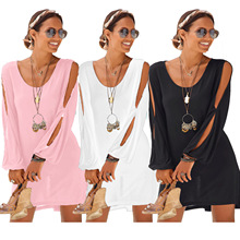 Sexy Strapless Beach Dress Women Summer Long Sleeve Off Shoulder Casual  Mini Vestido womens dress new a0rrival 2017 sexy long butterfly sleeve off shoulder strapless black knitted mini dress women s clothing sd039