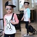 Nueva Llegada 2017 muchachas de la manga de raglán Camisetas Primavera y Otoño adolescente niñas Tocando Fondo camisa grande Ropa de moda Para Niños