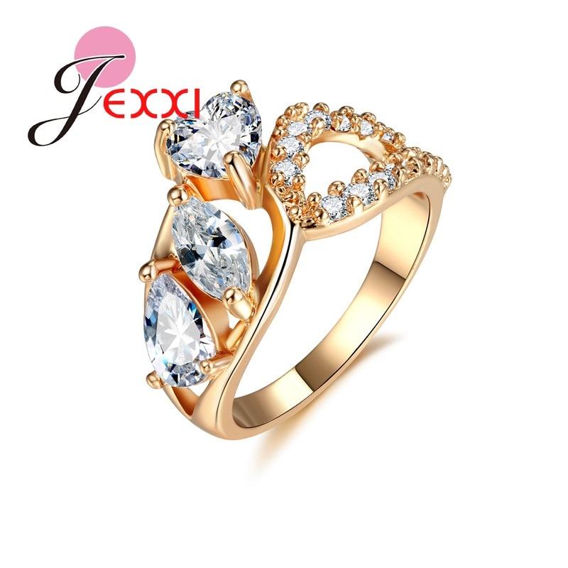 JEXXI Моды Кольца Для Женщин 2017 18 К Желтый Позолоченный Белый Цирконий Горный Хрусталь Свадьба Обручальное кольцо Палец Кольцо