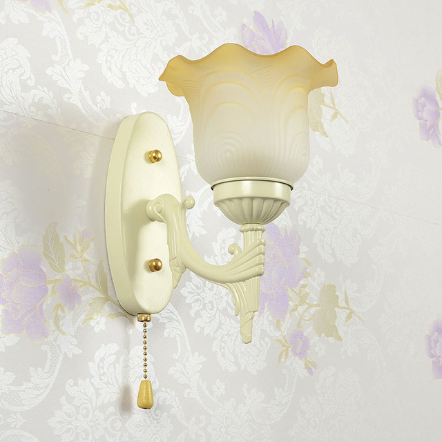 Loft Vintage Wall Lamps With Pull Switch Clear Gl Lampshade Antique Copper Light 110v