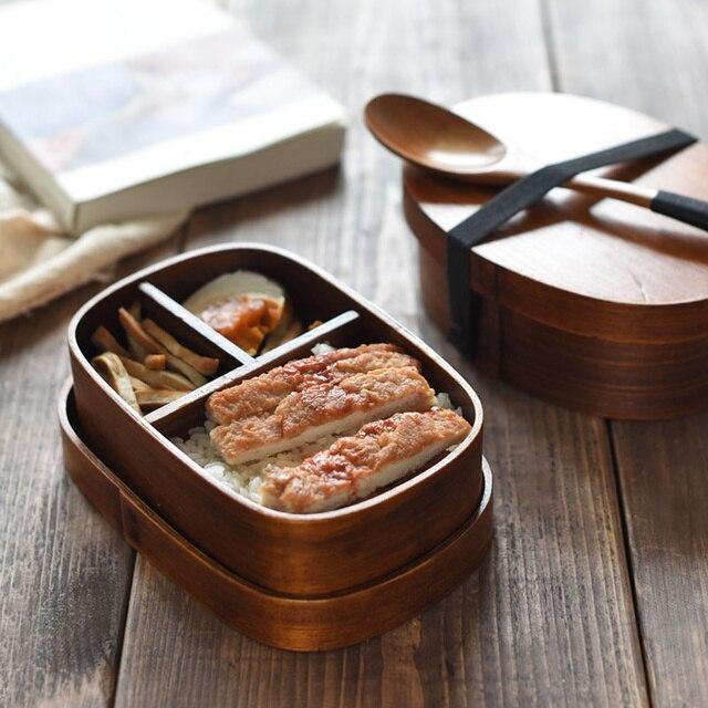Натуральное дерево японский Стиль Bento Коробки суши Еда контейнер студенты дети Портативный Коробки для обедов Китай Посуда пиала маленькая