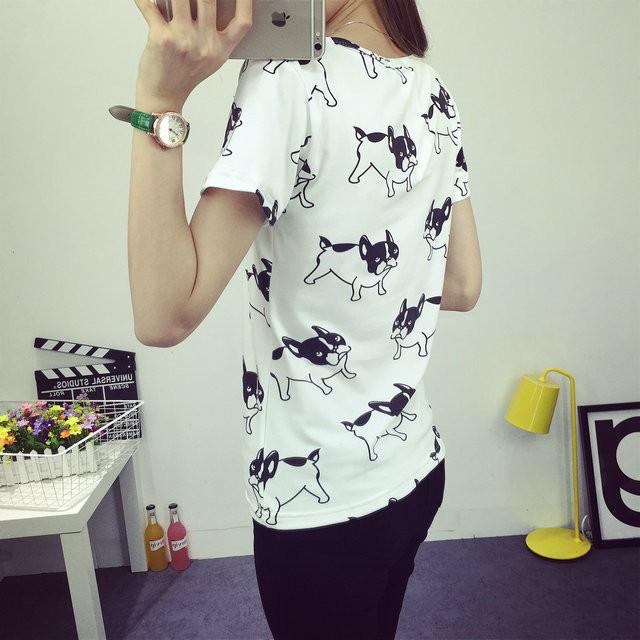 HTB1cxmSJFXXXXXbXVXXq6xXFXXXQ - 2016 casual fashion brand women summer style Tops women's Tshirts French Bulldog T Shirts camisetas femininas poleras de mujer