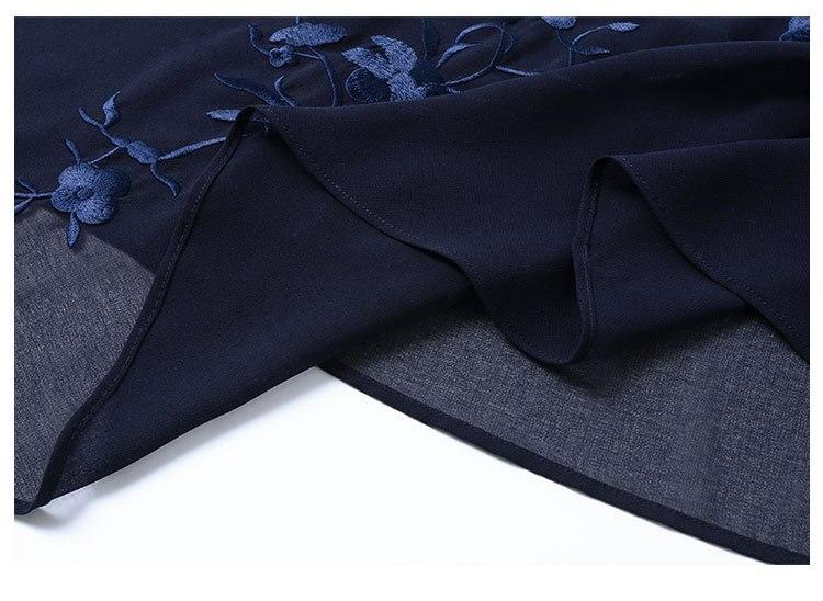 Large Casual B226 Tranchée Ouvrir Nouveau V Femmes Mode Manteau Longue Vent À Broderie Point 2018 De Green Taille Irrégulière navy cou Haute Qualité 7rxw7Un