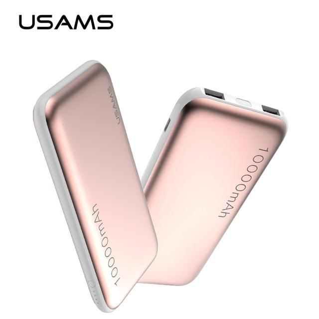 Usams 10000 мАч power bank dual usb мобильный телефон портативное зарядное устройство powerbank резервное копирование внешняя батарея для iphone 7 samsung s8 плюс