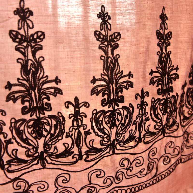 Orange Pink Bilateral Orientation Embroidered Polyester Cotton Long Skirt Dress Decor Fabric