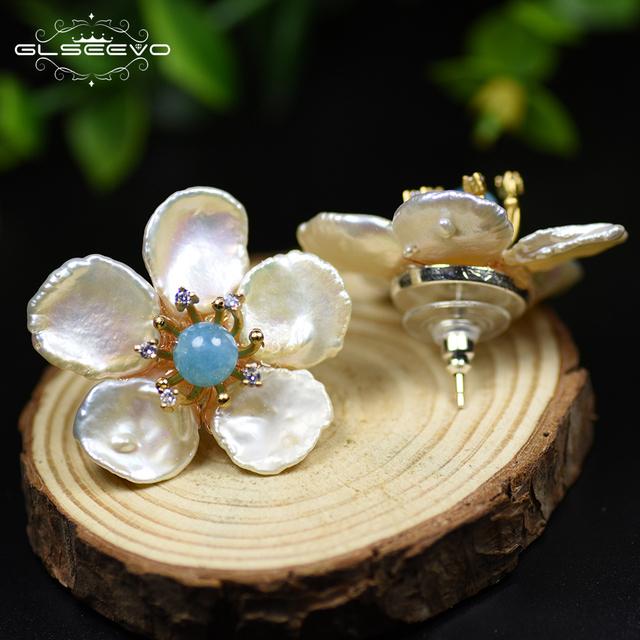 GLSEEVO Natural Fresh Water Baroque Pearl Lapis Lazuli Flower 925 Sterling Silver Stud Earring For Women Fine Jewellery GE0598