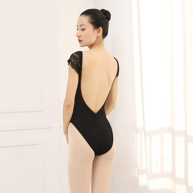 Ballet justaucorps femmes Ballet collants Sexy dos nu dentelle à manches courtes Ballet Costumes pratique vêtements Costumes ballerine DN1832