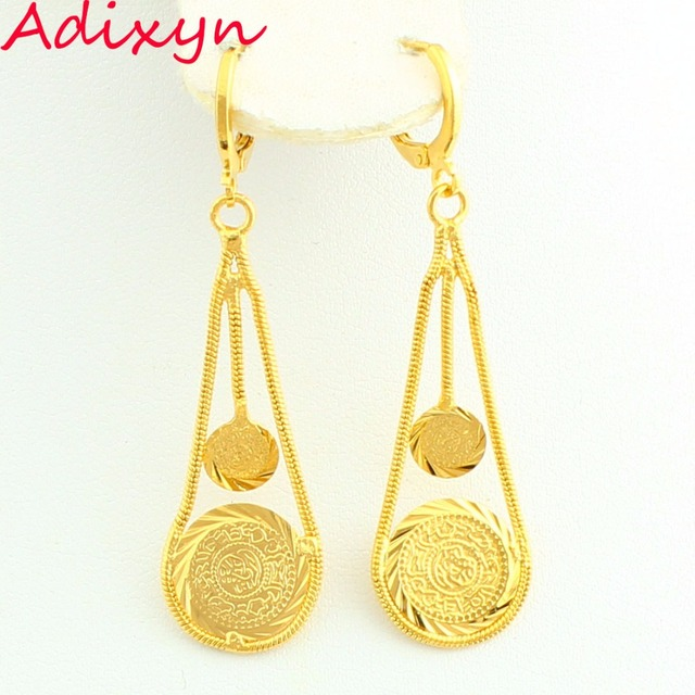 Adixyn New Coin Money Earring Gold Color Drop Muslim Ic Jewelry Middle East Arabic
