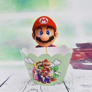 Image 4 - 12set Tema de Súper Mario Decoración de Pastel de fiesta Baby Cupcake para la ducha envoltorios eventos de feliz cumpleaños adornos para la parte superior de una tarta de fiesta