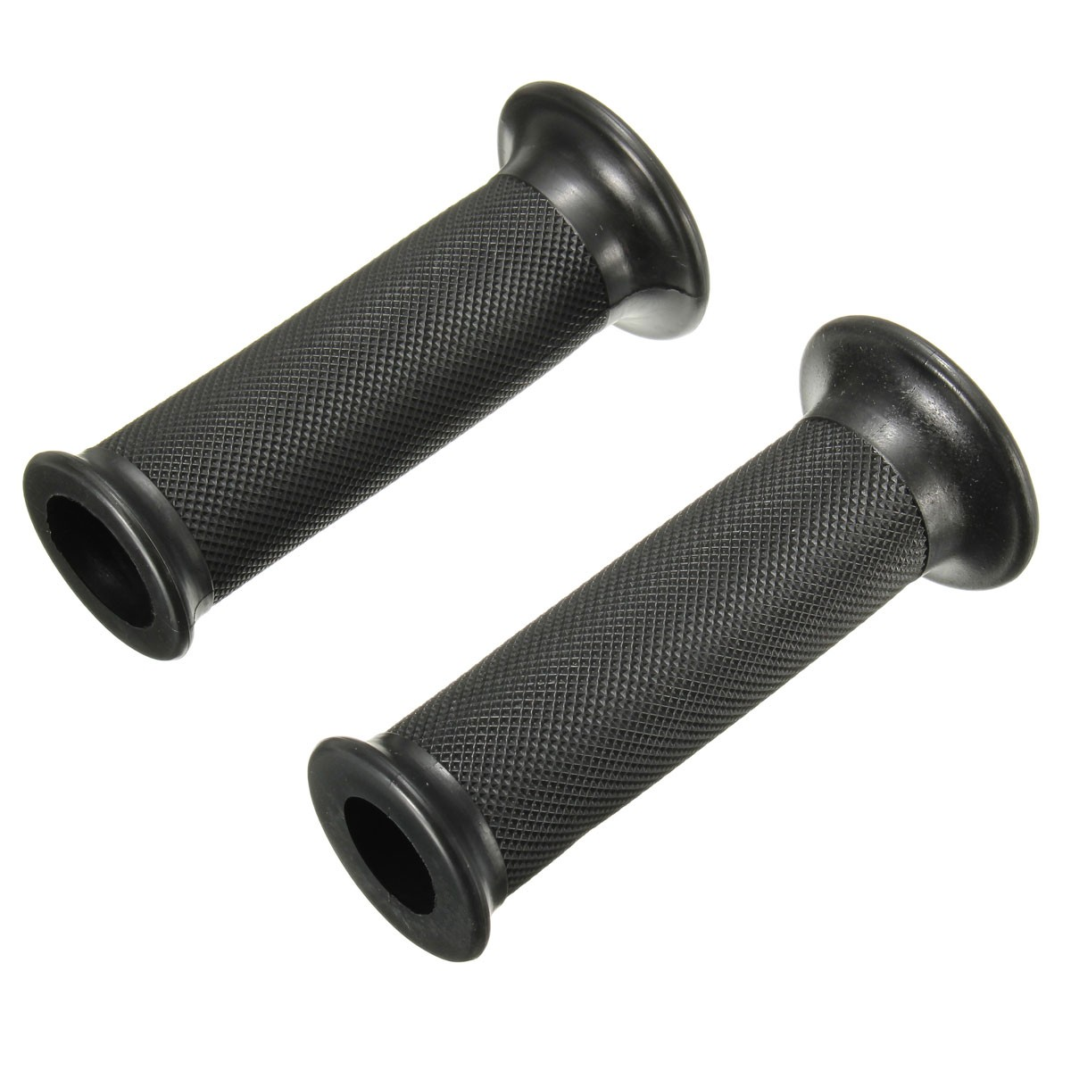 2PCs Universal Black Rubber Motorcycle Handlebars Hand Grips 22mm
