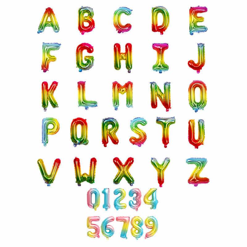 16 pouces lettre numéro ballons feuille ballon or argent lettre numérique Globos fête d'anniversaire décoration bébé bain fournitures