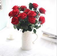 10 roses par bouquet fleurs artificielles accueil décoratif faux fleurs blanc rouge bleu rose beige champagne