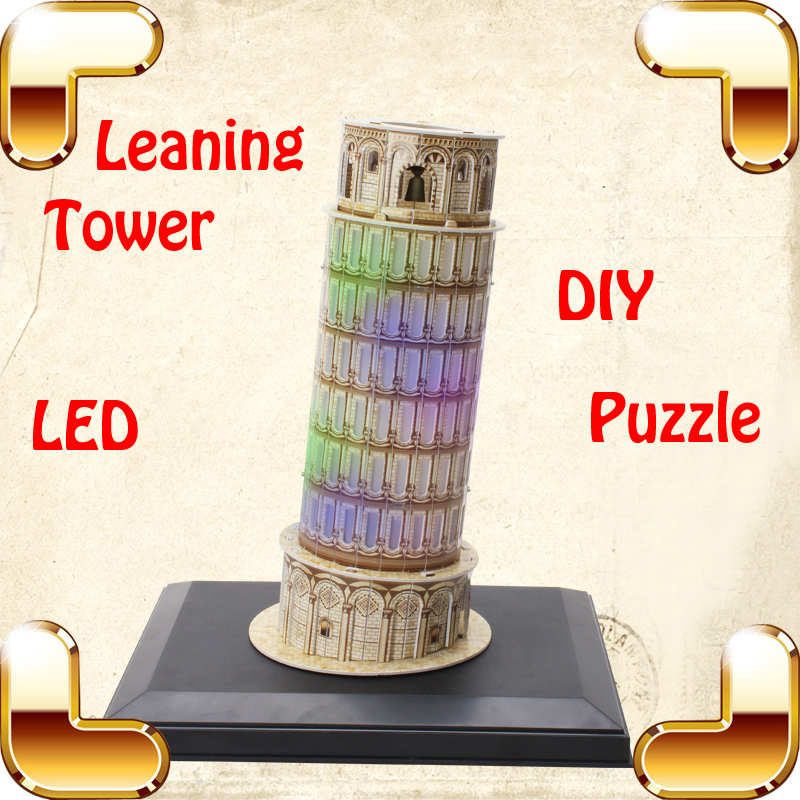 ФОТО Nice Gift Pisa Leaning Tower 3D Puzzle Model History Building LED Display Classic Decoration DIY Collection IQ Assemble Toys