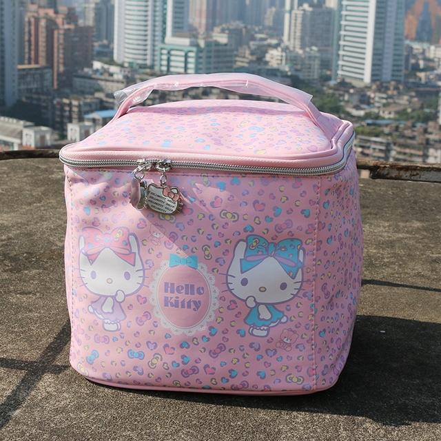 Japón estilo hello kitty estuche de maquillaje estuche de cosméticos Punto de Alta capacidad de almacenamiento muy lindo mujeres lavan bolsa