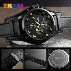 Image 5 - SKMEI New Fashion Sport Quartz Watches Men Luxury Business Leather Watch Waterproof Wristwatches Male Clock Relogio Masculino