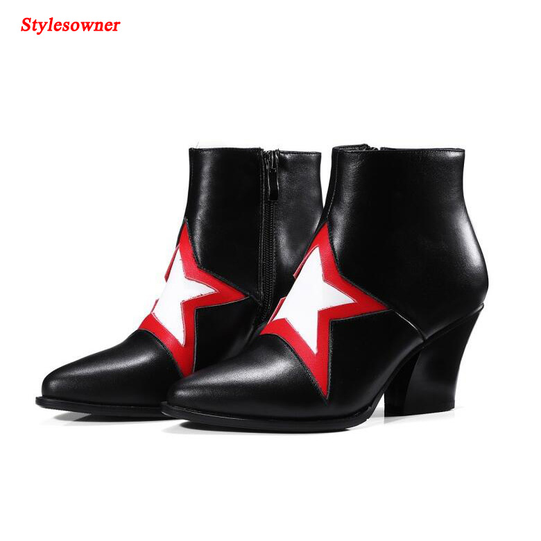 Stylesowner Mixed Color Stars Martin Ankle Boots Chunky High Heels Women Pointed Toe Zipper Genuine Leather Women Short Boots стоимость