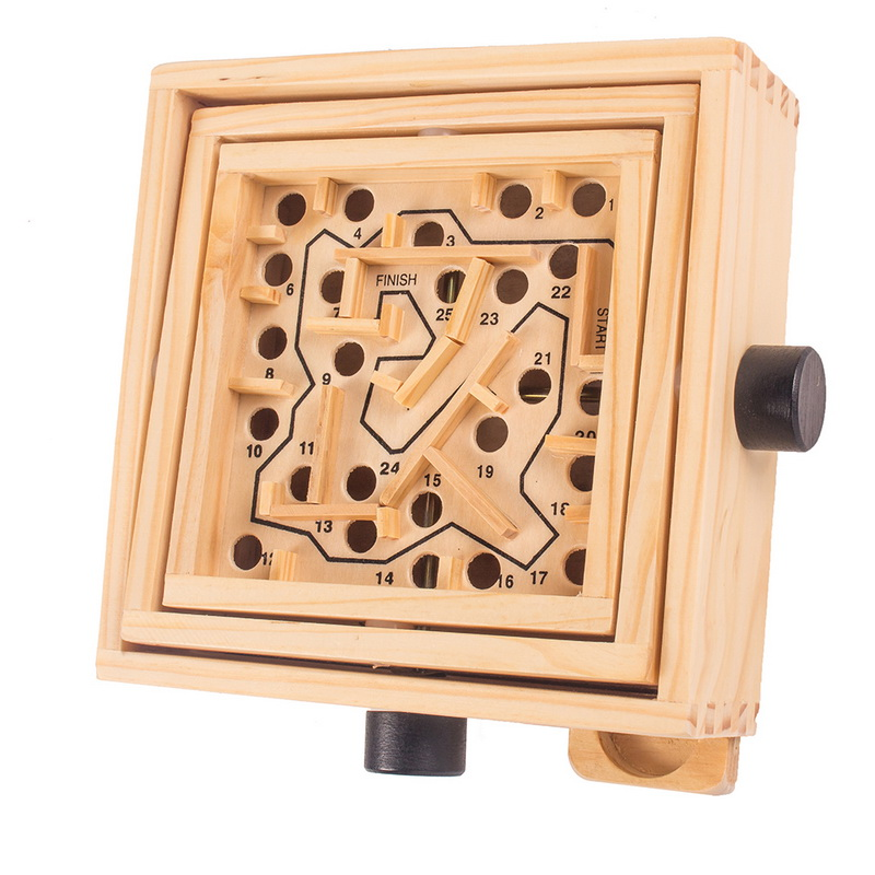 Wooden Labyrinth Board Game Maze Puzzle Make Steel Ball Through Pathway Educational Intelligence Toys for Kids Adult for Party