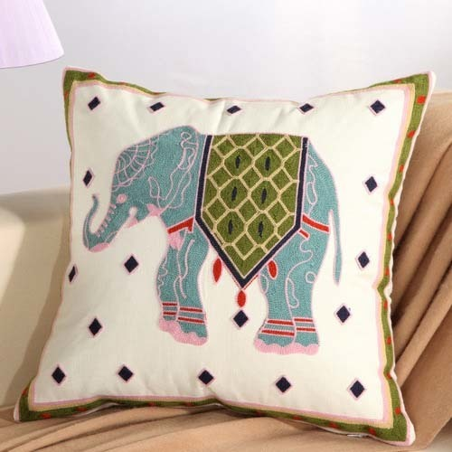 1Pcs Embroidery Elephant Flower Pattern Cotton Pillow Cushion Cover Home Decor Sofa Bed Decor Decorative Pillowcase 40152