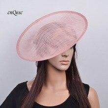 Большая Румяна Розовый sinamay чародей база шляпа для Кентукки Дерби свадьбы