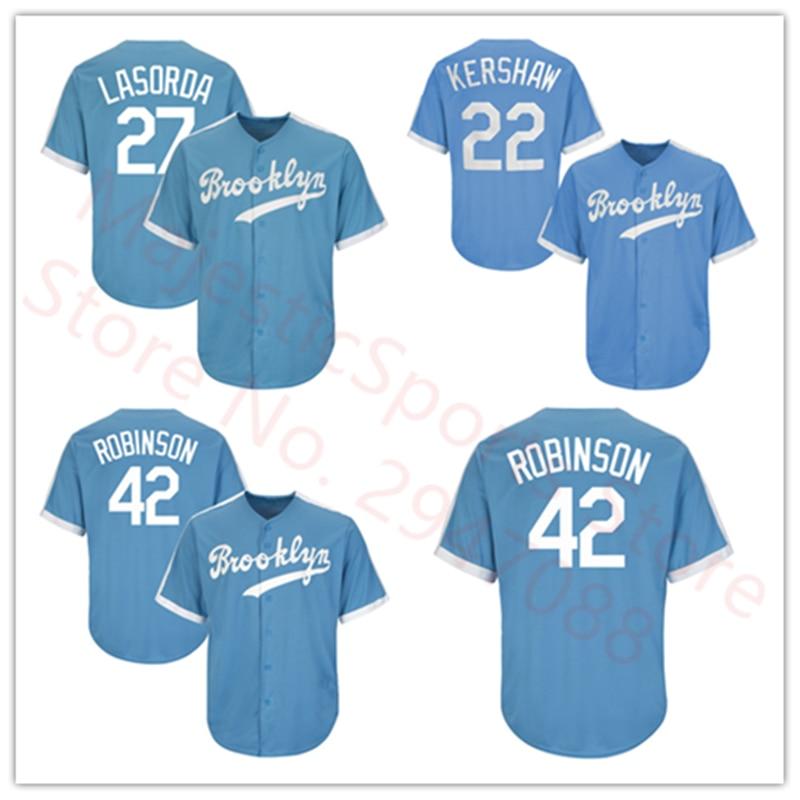 Men's Brooklyn Jackie Robinson Light Blue Collection Player Jersey Brooklyn Clayton Kershaw Tommy Lasorda Baseball Jersey