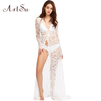 ArtSu Pregnant Women Maxi See Through Floral Elegant Lace Long Dress Sexy Autumn Winter Evening Party