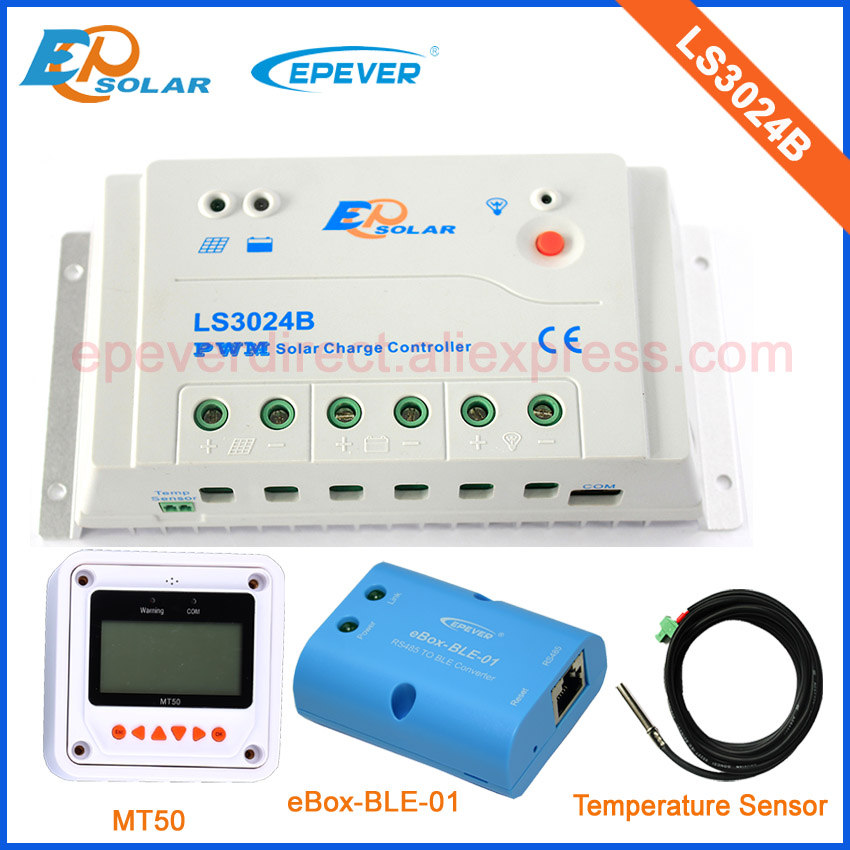 30A controller with communicate function BLE box and MT50 meter user parameters set LS3024B solar regulator+temperature sensor 20a 12 24v solar regulator with remote meter for duo battery charging