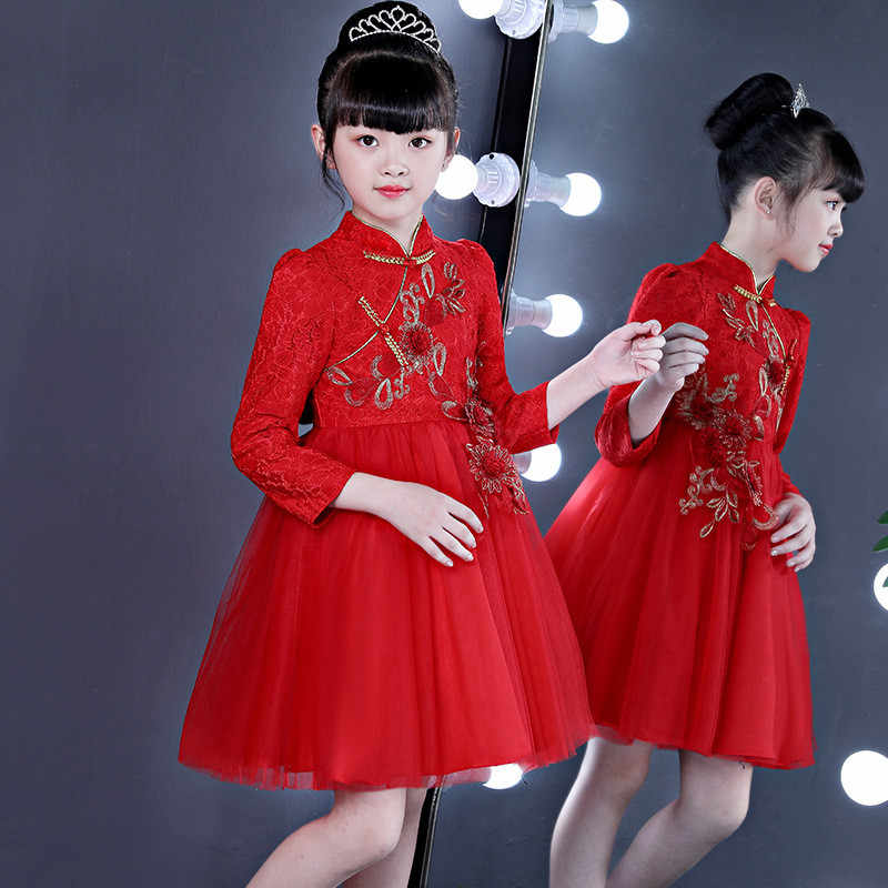d566281e12584 Winter Girls Dresses Chinese Traditional Nation New Year Children's Wear  Girls Fashion Embroidered Lace Princess Puff Dress