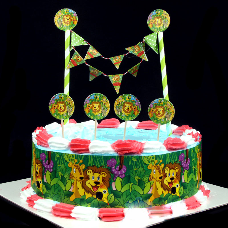 1 Set Of Jungle Animal Cake Decorated Choose Baby Shower Boy Birthday Party Decorations Like