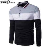 2017 New Arrival Men Patchwork Polo Shirt Long Sleeve Camisa Masculina Contrast Color Mens Casual Polo