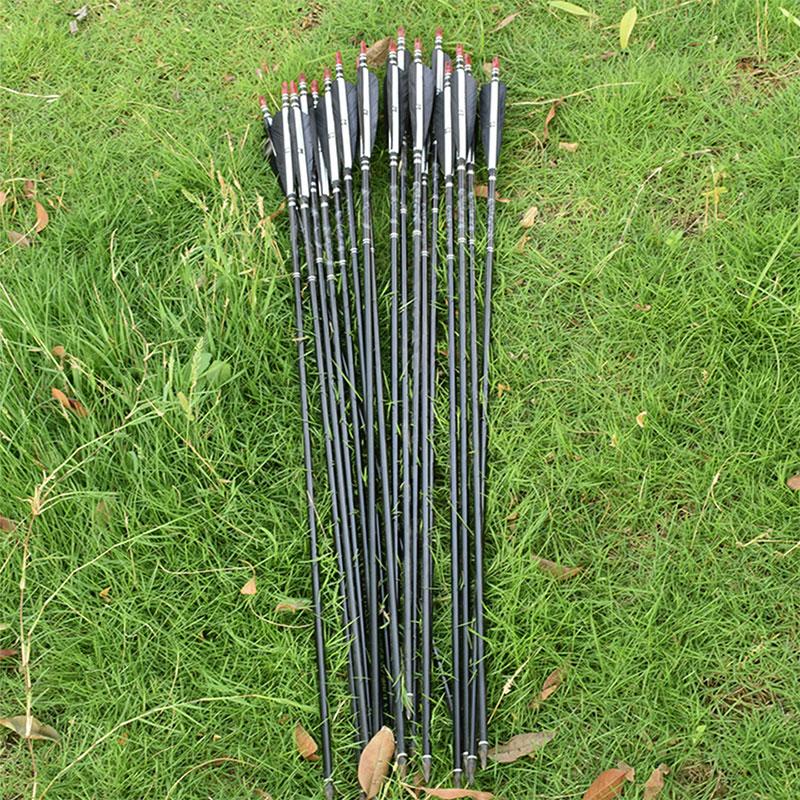 """12//6PCS  Archery 33/"""" Carbon Arrows Spine 500 Turkey Features ARROW Dia 7.6MM  CN"""