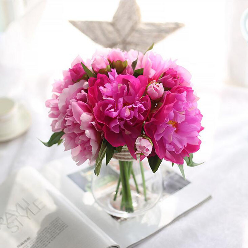 웃 유Peonies Flowers Wedding Bouquet Artificial Silk Flower Bride ...