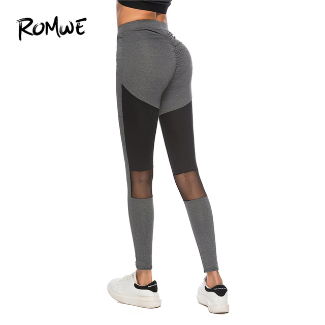 84ba765f49659 ROMWE Grey Sheer Mesh Panel Legging Autumn Women Casual Bottoms Pants  Female Spring Sporty Ladies Crop Leggings