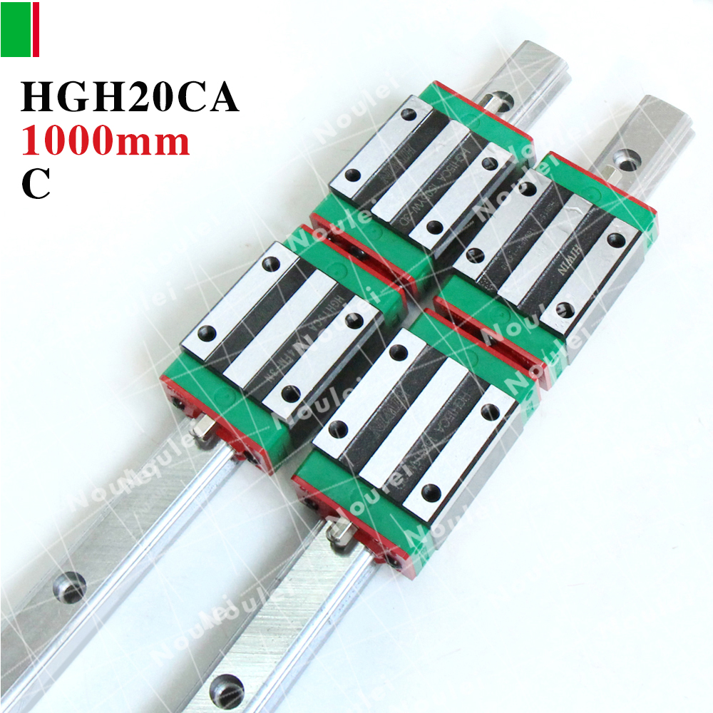 HIWIN HGH20 Linear guid,1000mm Linear Guide Rails HGR20 with Slides Block HGH20CA+DD/E2 guia linear 1000mm 2pcs hiwin hgh25ca linear guide slider block linear rails carrier