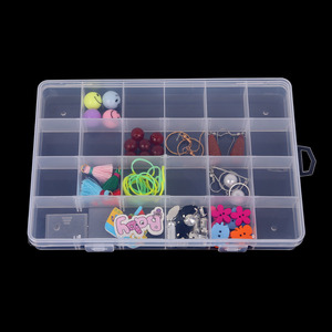 Hot Sale 24 Slots Adjustable Jewelry Storage Box Case Craft Organizer Beads Multi Grids Transparent Plastic Storage Box Portable