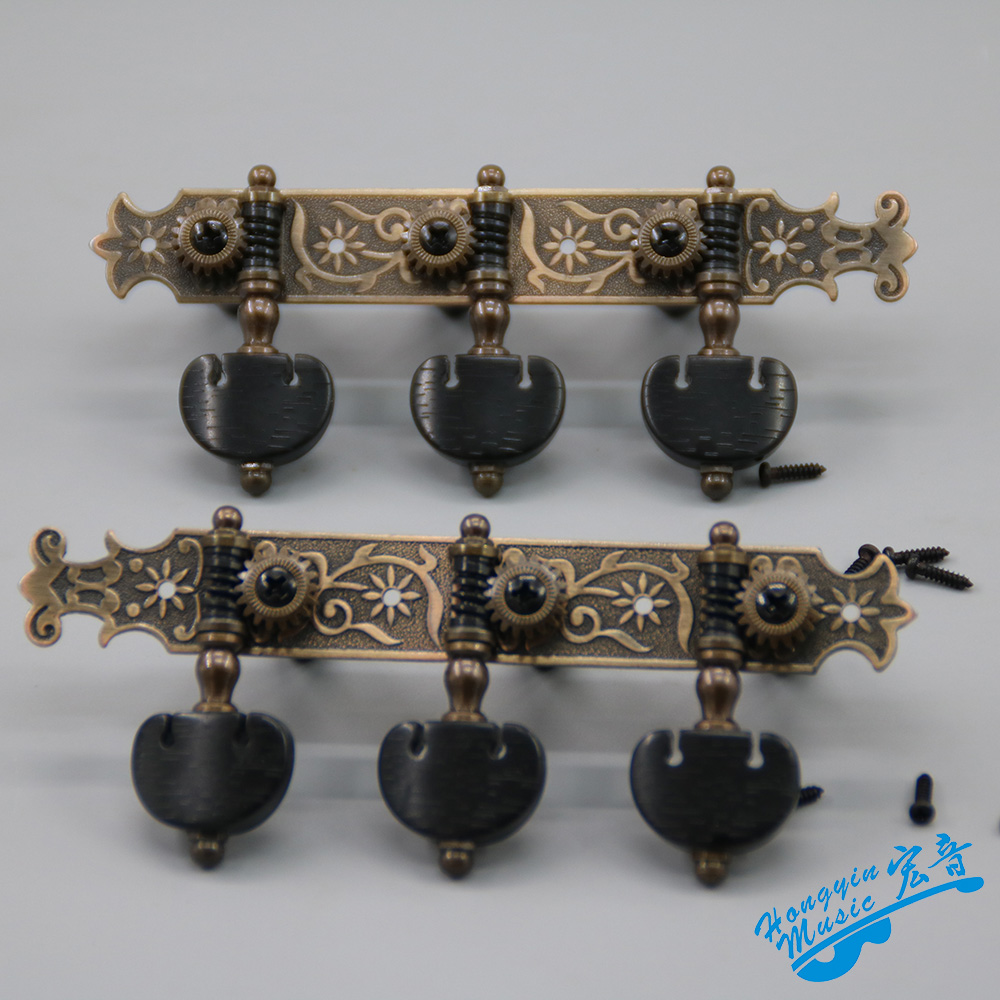 Left and Right Classical Guitar String Tuning Pegs Machine Heads Gold plated Antique Pure Copper Tuners