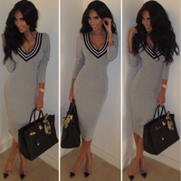 New Fashion Sexy Nightclub Pure Color V Collar Knit Long Pencil Dress