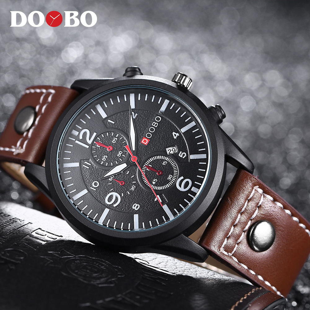 2017 Luxury Brand DOOBO Men Military Sports Watches Men's Quartz Date Clock Man Casual Leather Wrist Watch Relogio Masculino