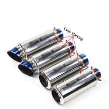 Universal 51mm 61mm tubo de escape da motocicleta modificado bicicleta sujeira marcação a laser silenciador para cbr1000rr s1000rr ninja300 r6