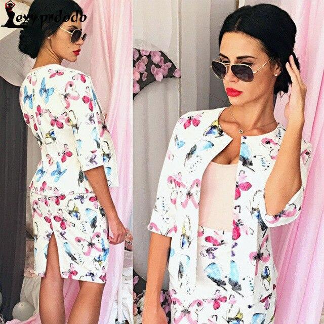 2016 Mulher Flor Impresso Saia Outono Mulher Cardigan casaco E Saia conjuntos Conjunto de Korte Vrouwen Sexy Midi das Mulheres Se Adapte 2 Stuks Rok
